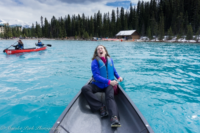 My sister. She's laughing because I took this photo of her backwards over my head. I didn't want to turn around in the canoe.