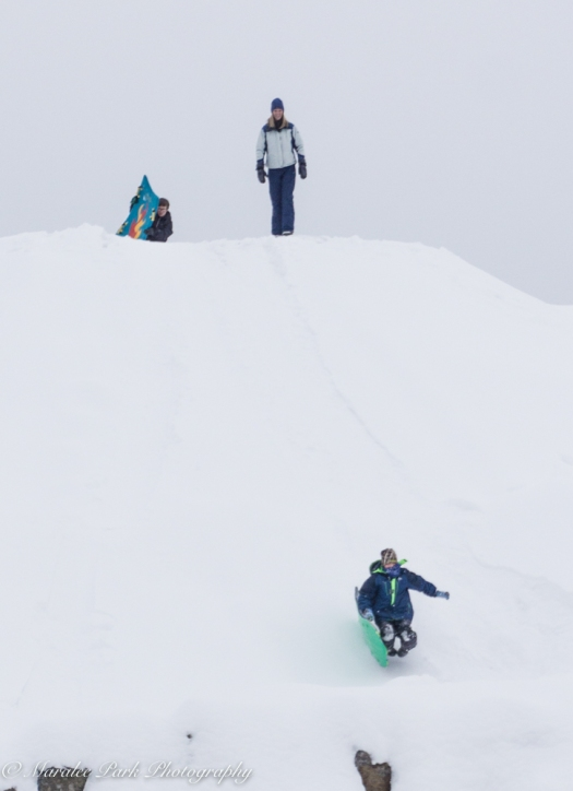 Take a massive mound of dirt and 3 feet of snow and you've got a place to slide.