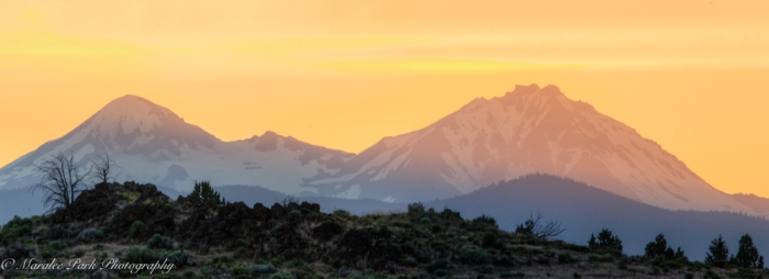 Sunset, Golden Glow, Mountains