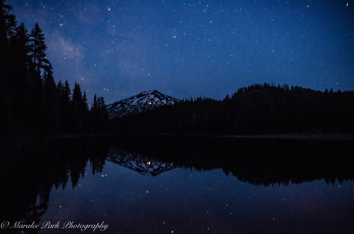 Astrophotography at Mt. Bachelor from Todd Lake. Milky Way starting to appear.