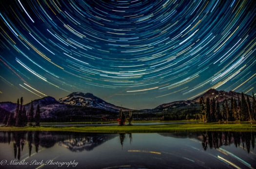 Star Trails at Sparks Lake with Mt. Bachelor and Broken Top in the background.