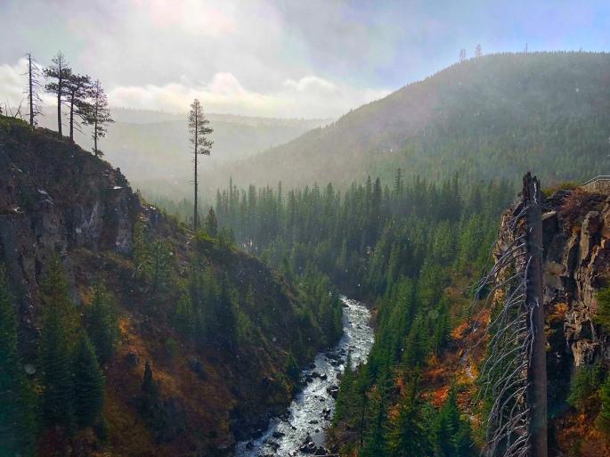 A misty morning at Tumalo Falls