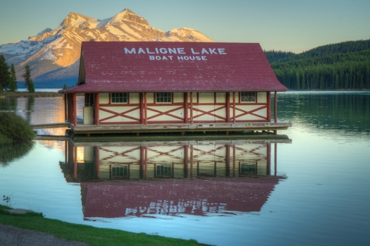 Maligne Lake Boathouse at sunset