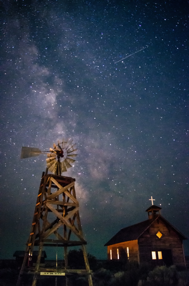 Old Homestead with Meteor and Milky Way