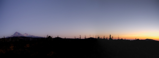 Panorama of the sun setting in the west